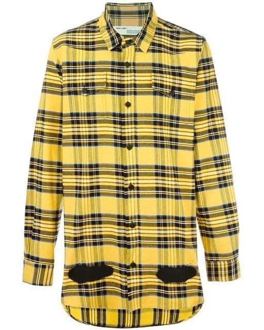 Off-White c/o Virgil Abloh | Yellow Diagonal Spray Check Shirt | Lyst