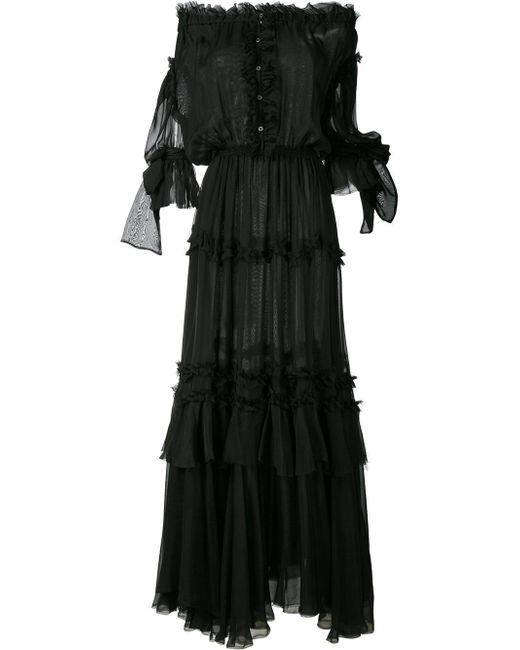 Faith Connexion | Black Off-shoulder Ruffle Long Dress | Lyst