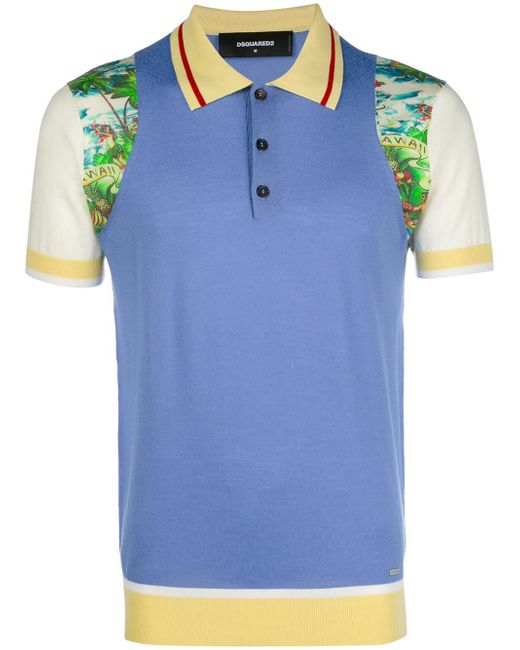 DSquared² - Blue Colourblock Printed Polo Shirt for Men - Lyst