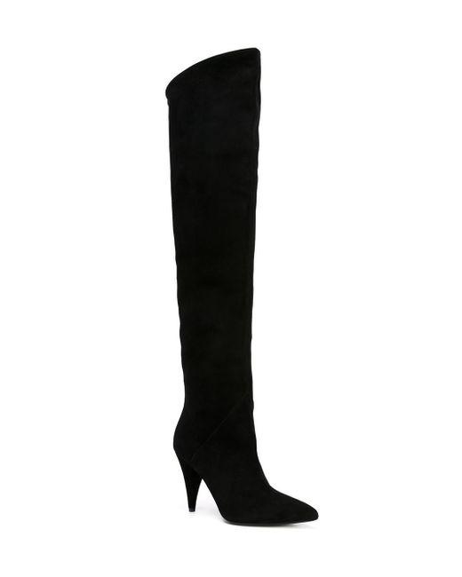 Saint Laurent | Black Suede Over-the-knee Boots | Lyst