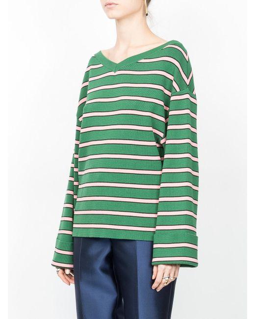 c92a9c7865b7 ALEXACHUNG Oversized Striped Sweater in Green - Lyst