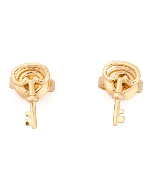 Aurelie Bidermann | Metallic 18kt Yellow Gold Key Mini Charm Earrings | Lyst