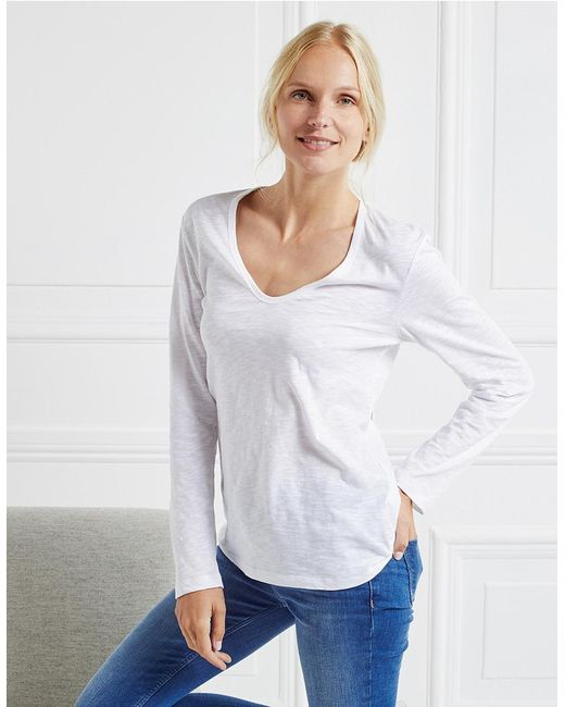 Lyst the white company cotton long sleeve t shirt in white for White cotton long sleeve t shirt