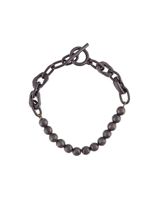 Henson | Black Beads And Carved Links Bracelet for Men | Lyst