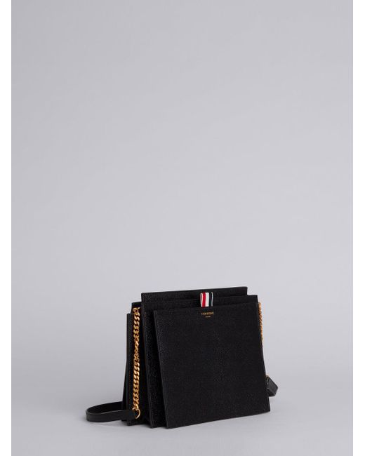 Accordion Bag (29,5x22x9 Cm) With Chain Shoulder Strap In Pebble Lucido Leather - Black Thom Browne