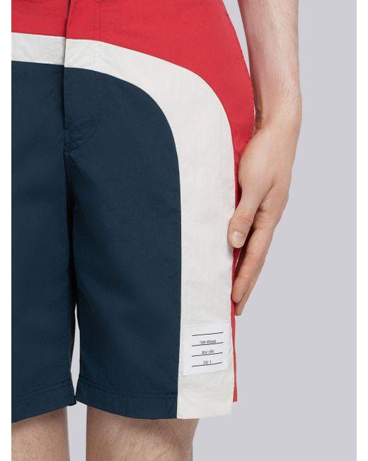 f590b48784 ... Thom Browne - Blue Seam Stripe Swim-tech Board Short for Men - Lyst