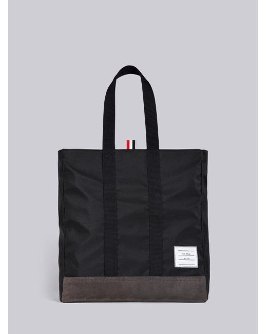 Thom Browne Black Unstructured Tote In Nylon Tech W Jersey Backing Suede For
