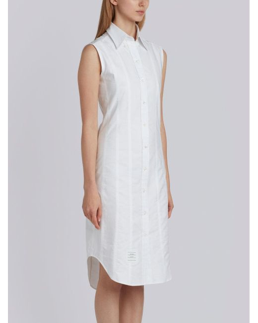 ae15049156d4cc ... Thom Browne - White Lace-up Back Sleeveless Button Down Point Collar  Shirtdress In Oxford ...