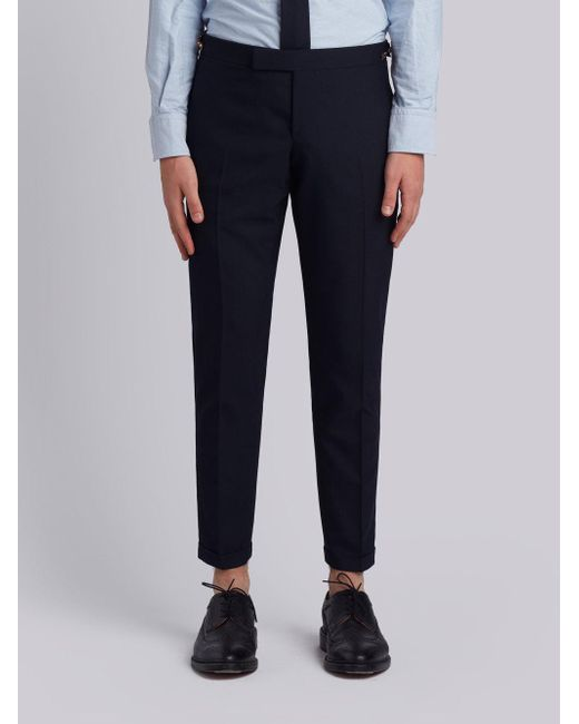 Thom Browne - Low Rise Skinny Trouser With Red, White And Blue Selvedge Back Leg Placement In School Uniform Plain Weave for Men - Lyst