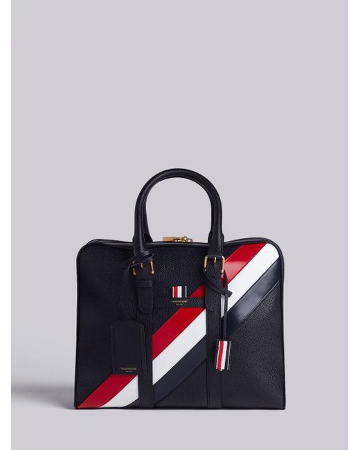 Thom Browne - Black Small Holdall With Red, White And Blue Diagonal Stripe In Pebble Grain & Calf Leather for Men - Lyst