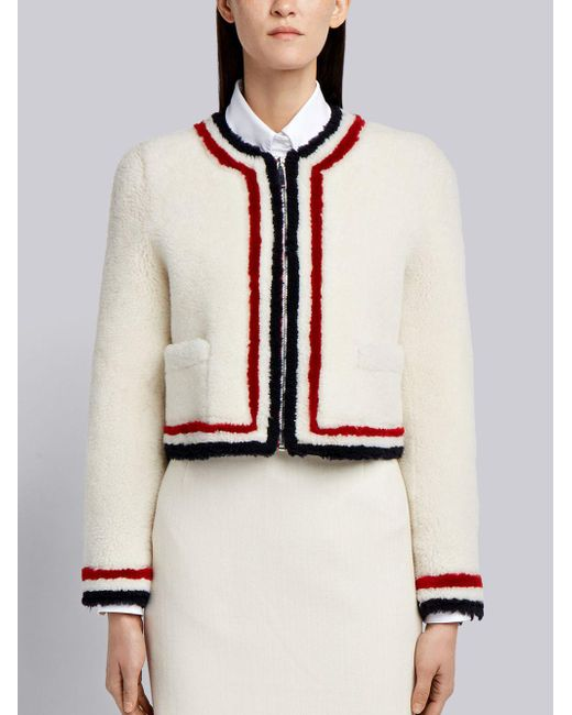 Thom Browne - Zip Up Cardigan Jacket With Red, White And Blue Intarsia In Dyed Shearling - Lyst