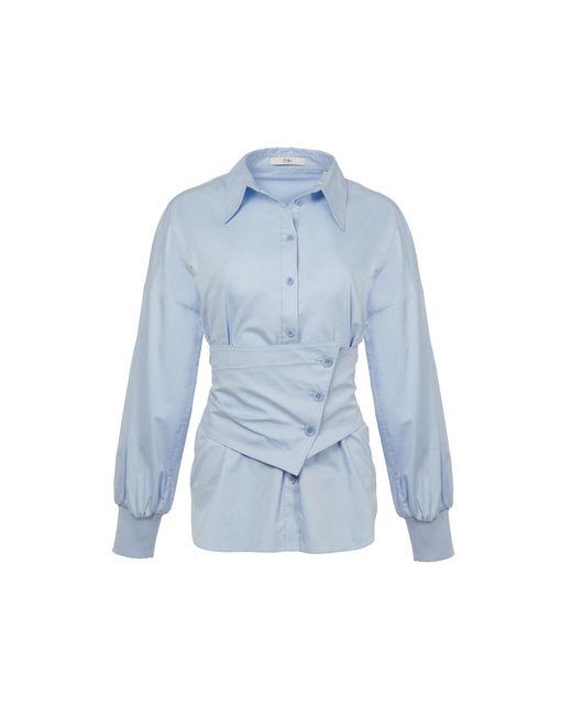Tibi - Blue Satin Poplin Shirt With Removable Corset - Lyst