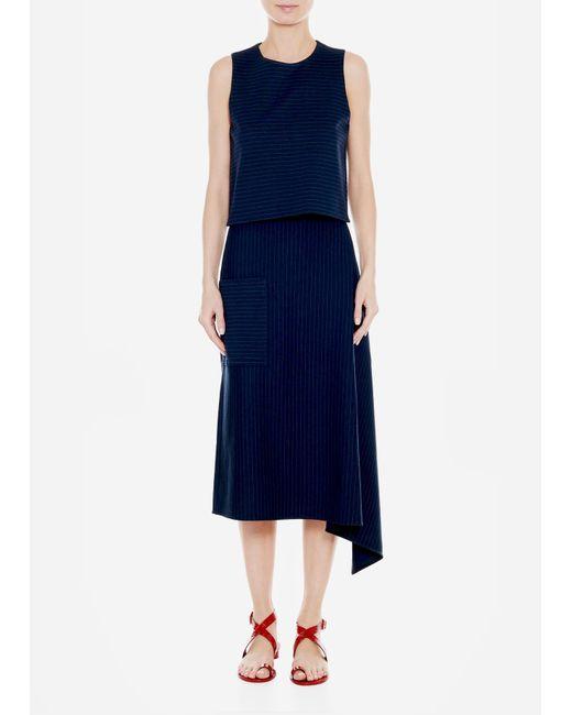 Tibi - Blue Pinstripe Knit Origami Skirt - Lyst