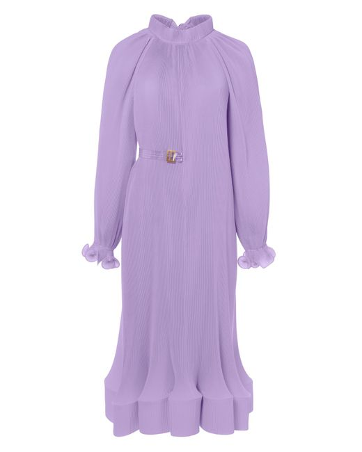 Tibi - Purple Pleated Dress With Removable Belt - Lyst