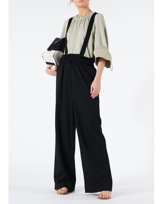 Tibi - Gray Astor Knit Shirred Top With Rib Cuffs - Lyst