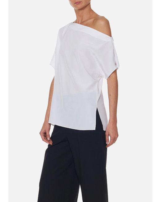 8ba3eebeafb Lyst - Tibi Silk Off-the-shoulder Top in White - Save 65%