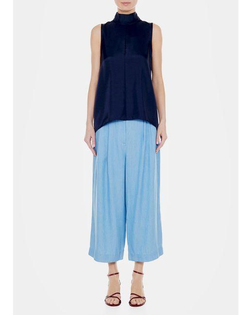 Tibi - Blue Mendini Twill Sleeveless Tie Neck Top - Lyst