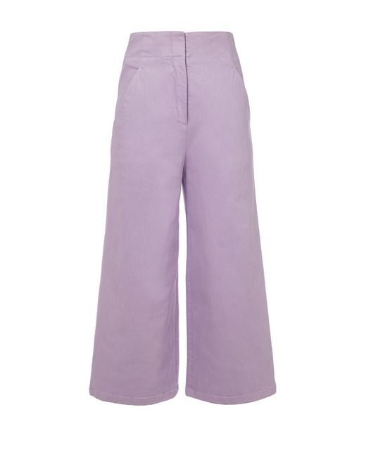 Tibi - Purple Garment Dyed Twill Cropped Wide-leg Jean - Lyst