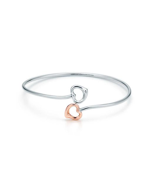 Tiffany & Co - Metallic Double Open Heart Bangle - Lyst