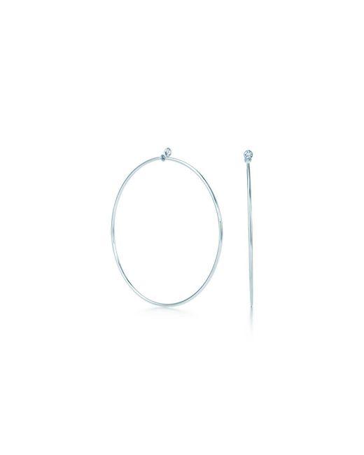 Tiffany & Co - Metallic Diamond Hoop Earrings - Lyst