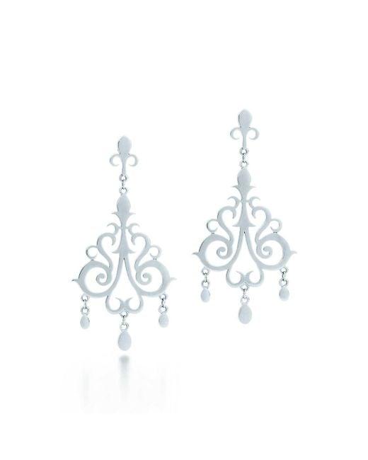 Tiffany & Co - Metallic Drop Earrings - Lyst