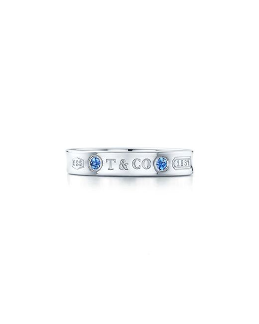 Tiffany & Co - Metallic Narrow Ring In Sterling Silver With Montana Sapphires - 9 1/2 - Lyst