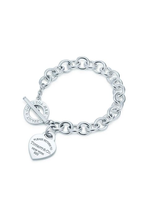Tiffany & Co | Metallic Heart Tag Toggle Sterling Silver Small Bracelet | Lyst