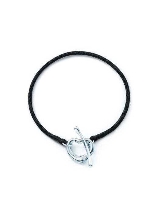 Tiffany & Co - Metallic Elsa Peretti. Open Heart Silk Bracelet With Sterling Silver, Medium - Lyst