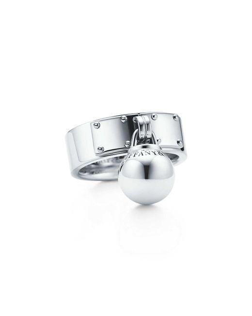 Tiffany & Co - Metallic Ball Dangle Ring - Lyst