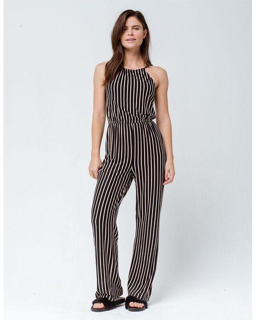 6e9311ac7225 RVCA - Blue Hush Striped Womens Jumpsuit - Lyst ...