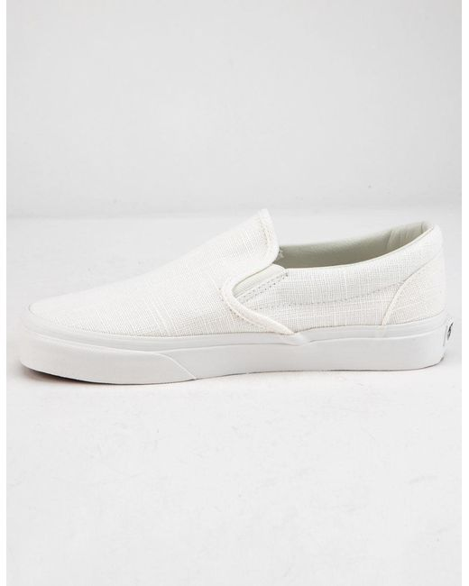 5d69375d1413b5 ... Vans - White Hemp Linen Slip-on Blanc De Blanc Womens Shoes - Lyst ...
