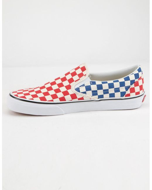 4f266322f8 ... Vans - Multicolor Checkerboard Classic Slip-on Red   Blue Shoes ...