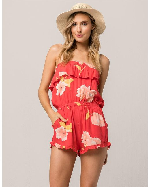 84077e2cfcaaa Billabong Pocket Flower Romper in Red - Save 61% - Lyst
