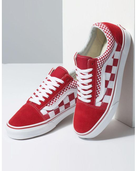 4e088736f95 ... Lyst Vans - Red Mix Checker Old Skool Chili Pepper   True White Shoes  ...