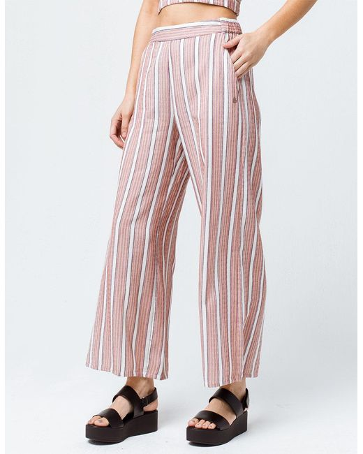 83abcd029f Roxy - Red Midnight Avenue Striped Womens Wide Leg Pants - Lyst ...