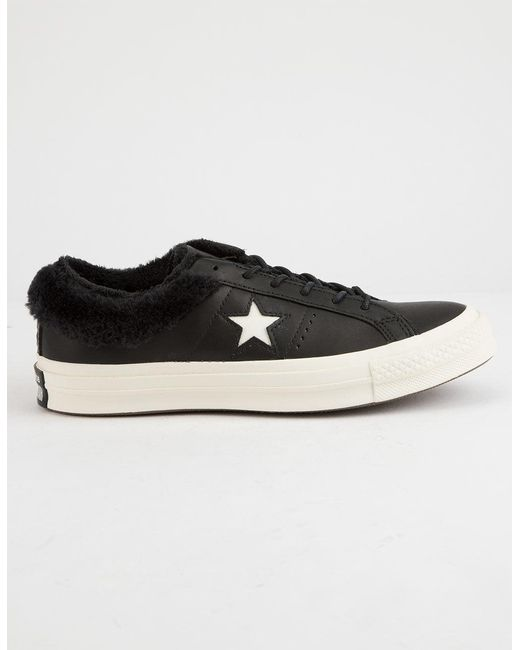 92f8cb97aa1 Lyst - Converse One Star Ox Fur Black Womens Shoes in Black