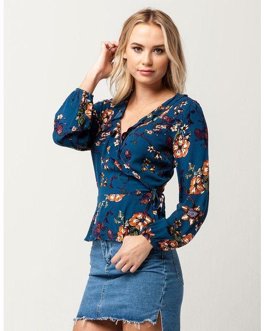 Blu Pepper - Blue Floral Ruffle Womens Wrap Top - Lyst