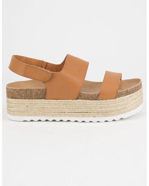 655570fd45 ... Dirty Laundry - Brown Peyton Espadrille Cognac Womens Velcro Platform  Sandals - Lyst ...