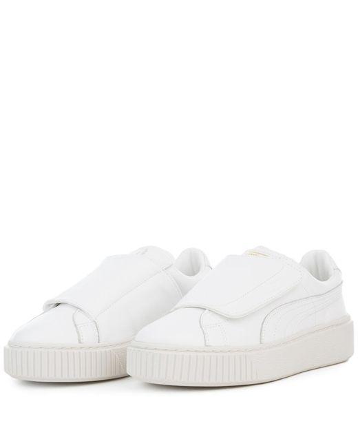 85e21ea29b94 ... PUMA - Basket Platform Big Strap White Sneaker - Lyst ...
