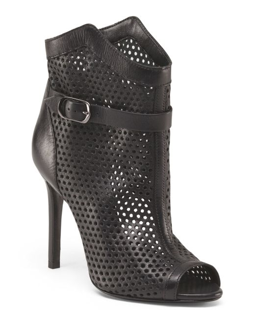 tj maxx leather peep toe perforated bootie in black lyst