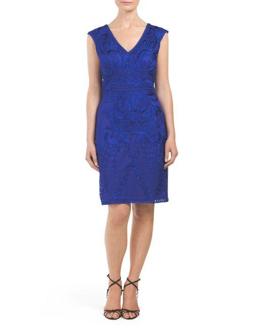 Tj Maxx V Neck Soutache Dress In Blue Cobalt Lyst