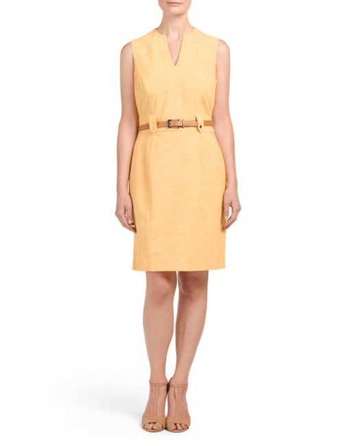 Tj Maxx Venice Belted Career Dress In Yellow Lyst