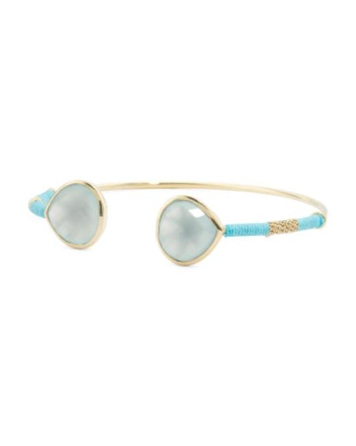 Tj Maxx | Multicolor Made In India Gold Plated Brass Chalcedony Open Cuff Bracelet | Lyst