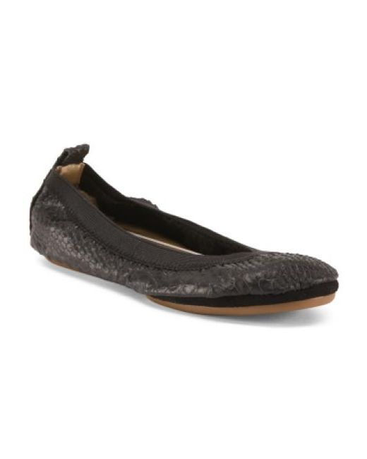 Tj Maxx | Black Round Toe Leather Ballet Flats | Lyst