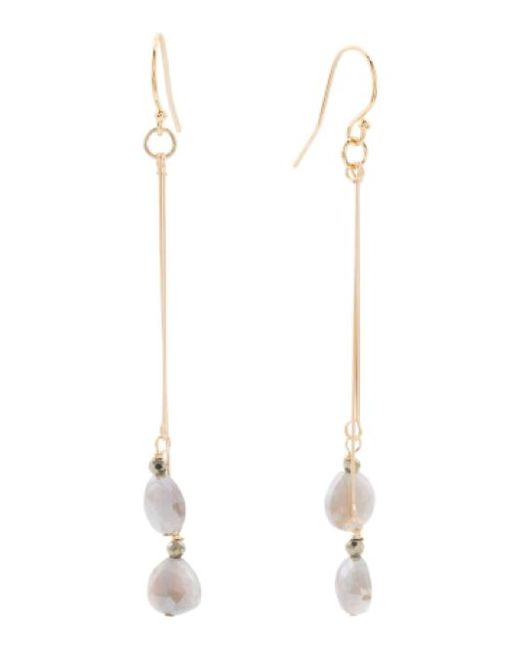 Tj Maxx | Gray Made In Usa Coated Grey Moonstone Gold Filled Earrings | Lyst