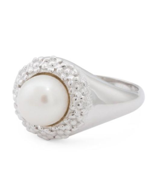 Tj Maxx | Metallic Made In Italy Sterling Silver Button Pearl Textured Ring | Lyst
