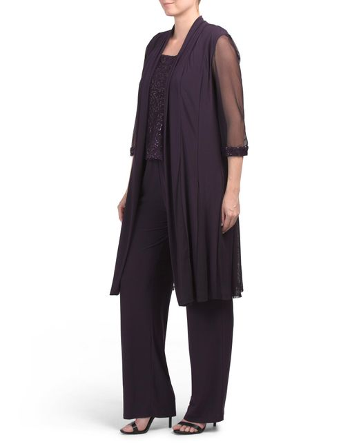 Tj Maxx Multicolor 3pc Lace Top Pant Suit
