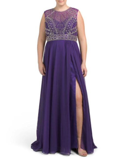 Tj Maxx - Purple Plus Long Silk Gown With Beading - Lyst