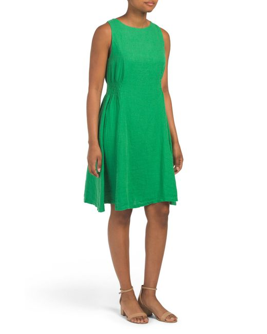 2253474a1beb Tj Maxx Made In Italy Linen Side Ruched Dress in Green - Lyst