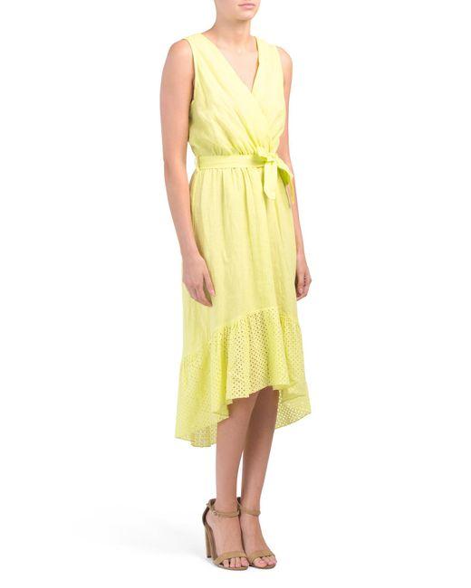 de1d109fc77f9 Tj Maxx Made In Italy Linen Eyelet Maxi Dress in Yellow - Lyst